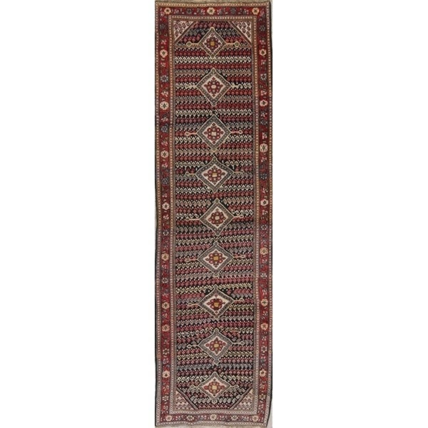 "Antique Sultanabad Persian Hand-Knotted Wool Oriental Runner Rug - 12'0"" x 3'2"" Runner"