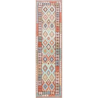 "Tribal Flat-weave Modern Turkish Wool Kilim Hand-Woven Runner Rug - 9'7"" x 2'7"" Runner"