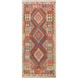 "Flatweave Kilim Turkish Oriental Diamond Hand-Woven Wool Runner Rug - 6'1"" x 2'9"" Runner"