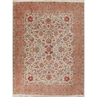 "Traditional Vintage Tabriz Persian Hand-Knotted Wool Oriental Area Rug - 13'1"" x 9'7"""