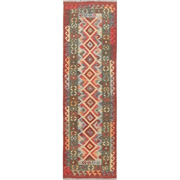 "One-Of-A-Kind Turkish Hand-woven Tribal Kilim Southwestern Runner Rug - 8'2"" x 2'6"" Runner"