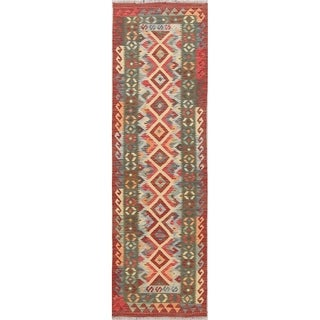 "One-Of-A-Kind Turkish Hand-woven Tribal Kilim Southwestern Runner Rug - 8'2"" x 2'6"" Runner"