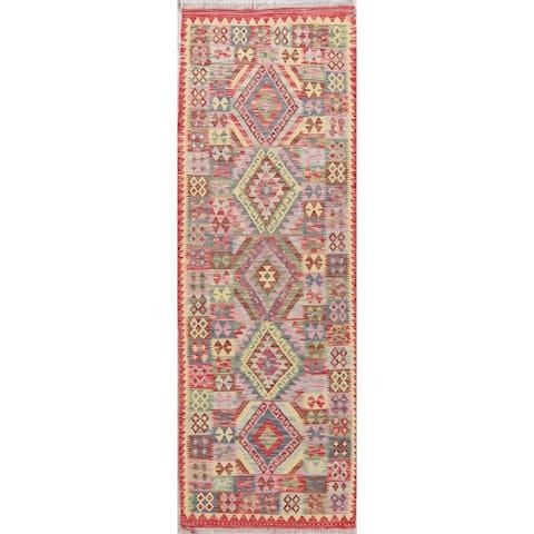 """Southwestern Flat-weave Hand Woven Tribal Turkish Kilim Runner Rug - 8'4"""" x 2'9"""" Runner"""