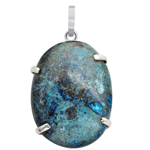 40 Carat Azurite 925 Sterling Silver Oval Cabochon Pendant Necklace