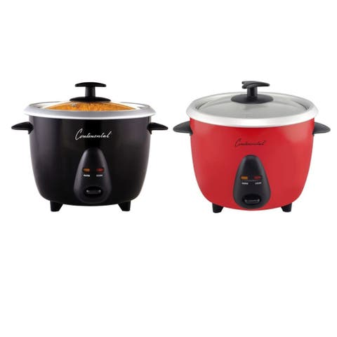 Continental Electric 12-Cup (Cooked) Rice Cooker with Glass Lid