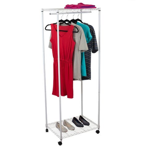 Free-Standing Rolling Garment Rack, White
