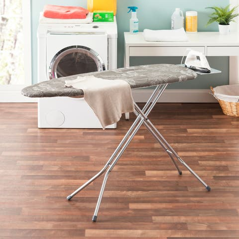 """Sunbeam Whimsical Willows 15"""" x 54"""" Cotton Ironing Board Cover, Grey"""