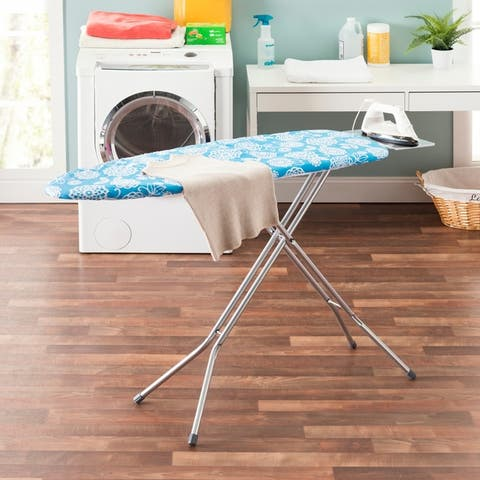 "Sunbeam Coastal Floral 15"" x 54"" Cotton Ironing Board Cover, Aqua"