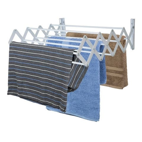 Sunbeam Wall-Mounted Steel Accordion Drying Rack, Grey