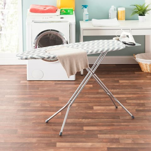 "Sunbeam Classic Chic Chevron 15"" x 54"" Cotton Ironing Board Cover, Grey"