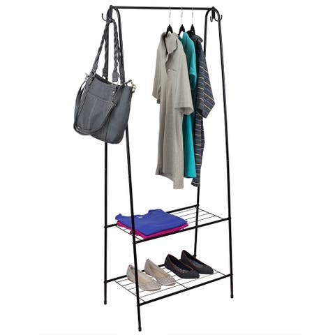 2 Shelf Free-Standing Garment Rack with Hooks, Black