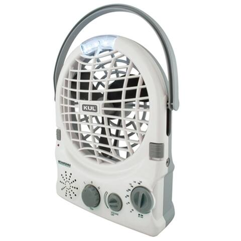 KUL Portable 2 Speed Fan with AM/FM Radio and LED Light