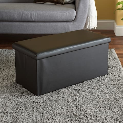Faux Leather Storage Ottoman Bench, Brown