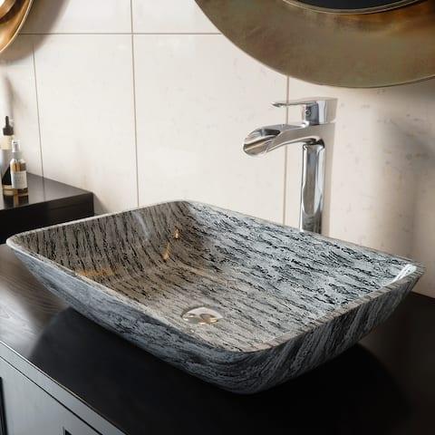 VIGO Silver and Black Rectangular Vessel Bathroom Sink (As Is Item)