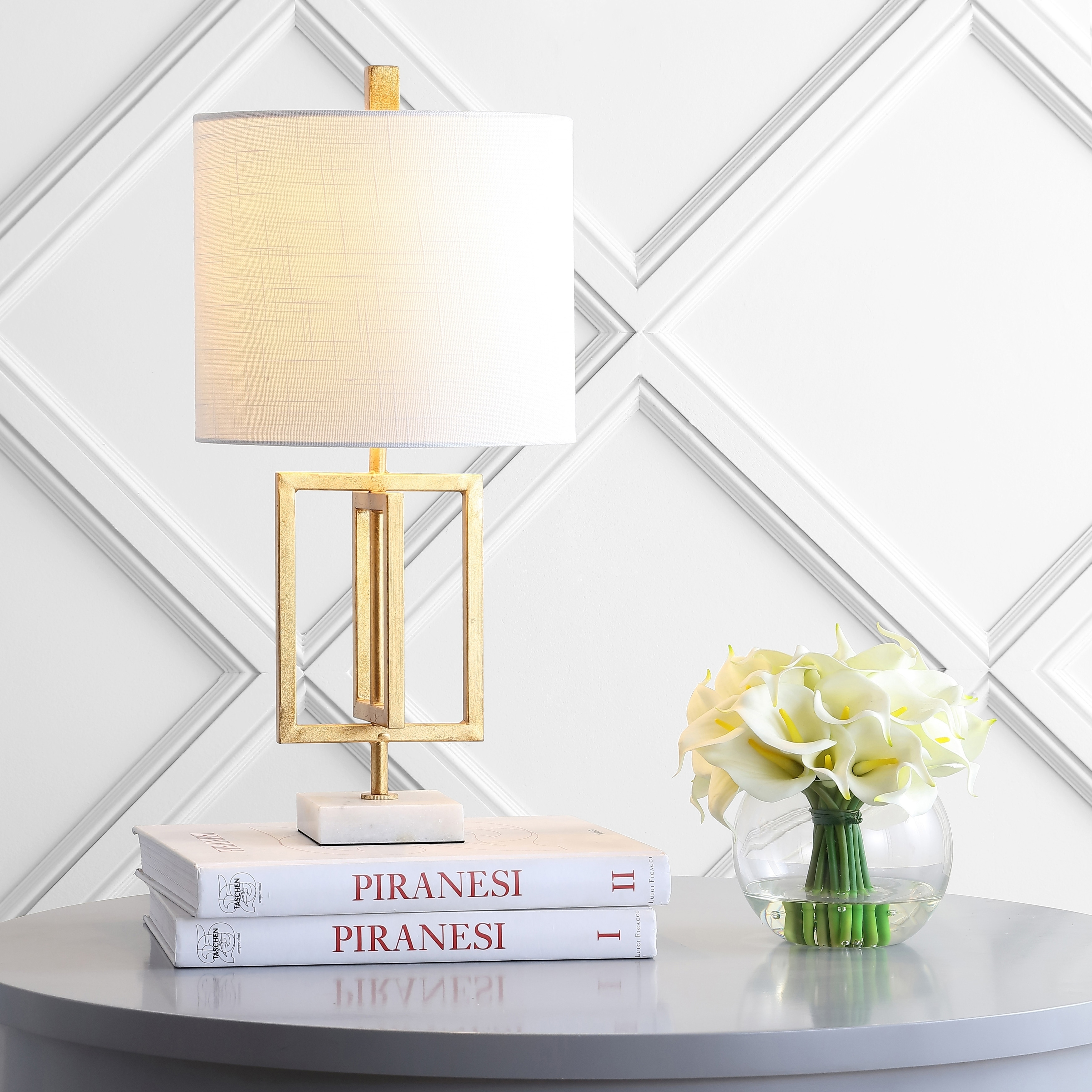 Anya 20.25 Metal/Marble LED Table Lamp, Gold by JONATHAN  Y