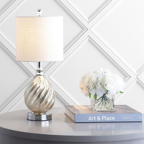 """Lawrence 20.5"""" Glass/Metal LED Table Lamp, Mercury Silver by JONATHAN Y"""
