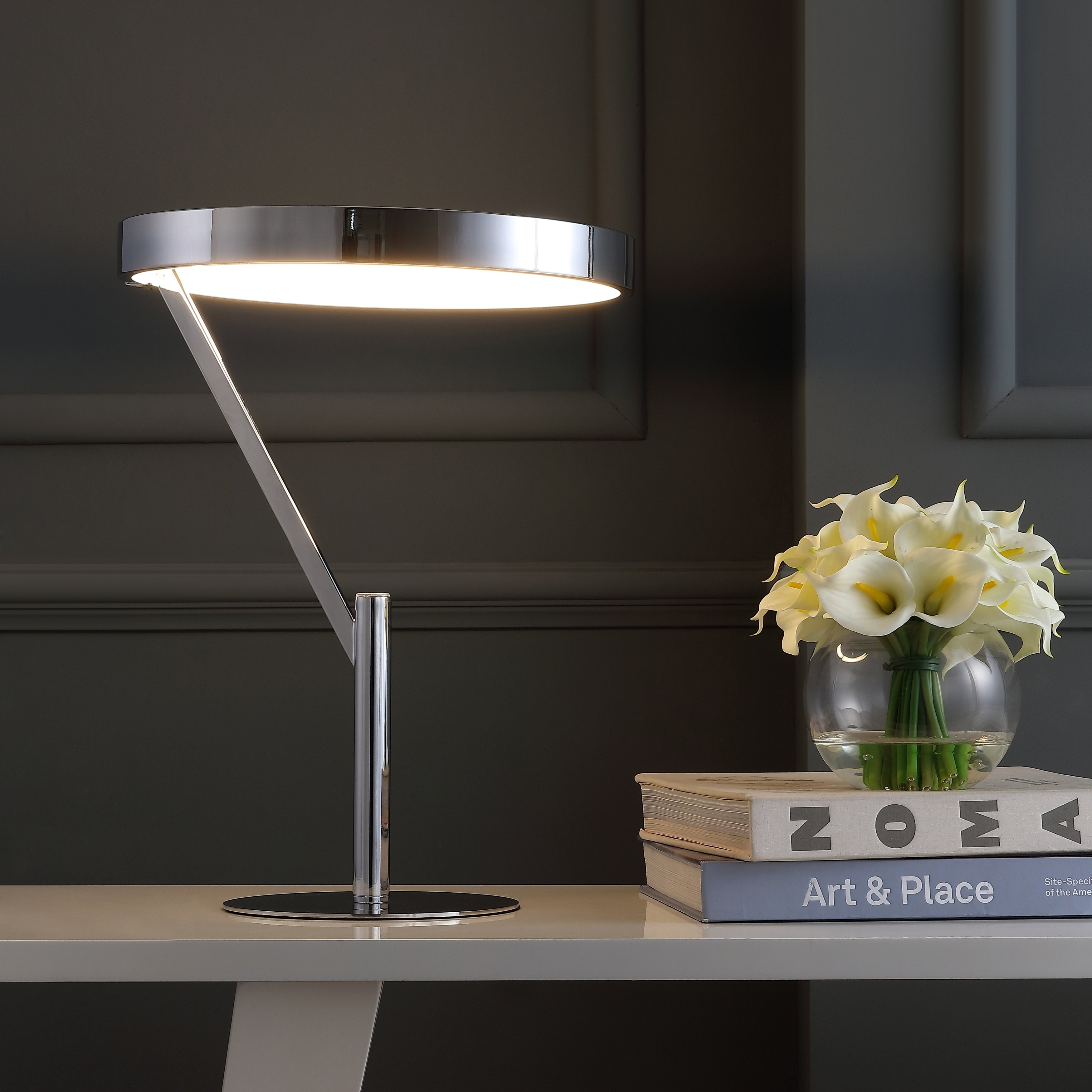 Owen 18 Integrated LED Metal Table Lamp, Chrome by JONATHAN  Y