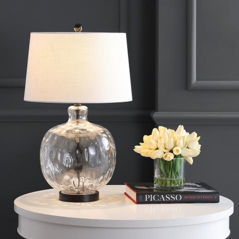 """Rae 26.5"""" Glass/Metal LED Table Lamp, Clear/Black by JONATHAN Y"""