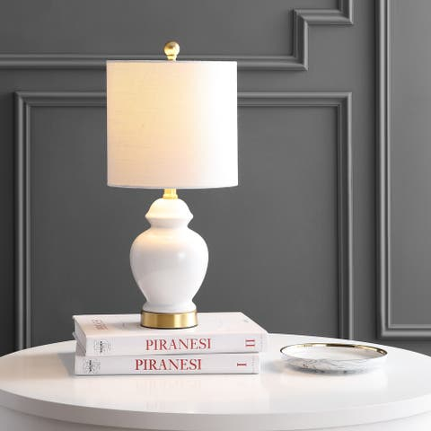 "Perry 20"" Ceramic/Metal LED Table Lamp, White/Brass Gold by JONATHAN Y"