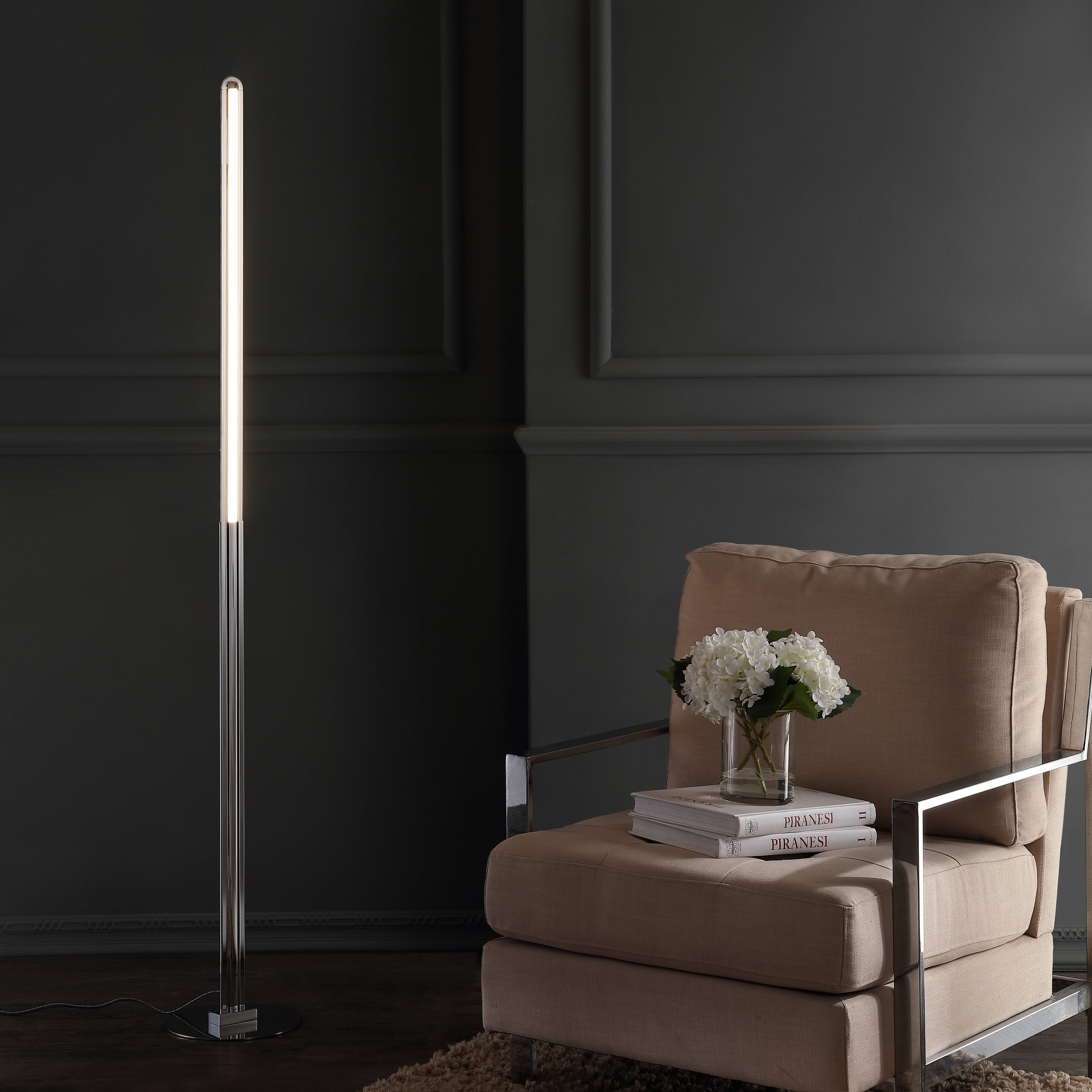Roxanna 68 Integrated LED Metal Floor Lamp, Chrome by JONATHAN  Y