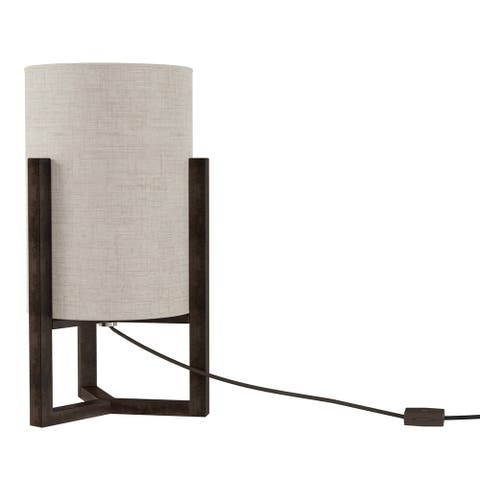 Modern Cylinder Lamp with Column Wood Base with LED Bulb Included by Lavish Home