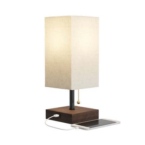 Modern USB Rectangle Lamp with Wood Base LED Bulb Included by Lavish Home
