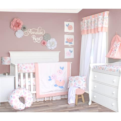 Watercolor Rose Crib Baby Bedding Set by Pam Grace Creations