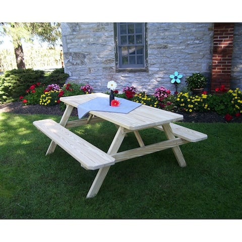 Picnic Table w/Attached Benches - Unfinished Pressure Treated Pine