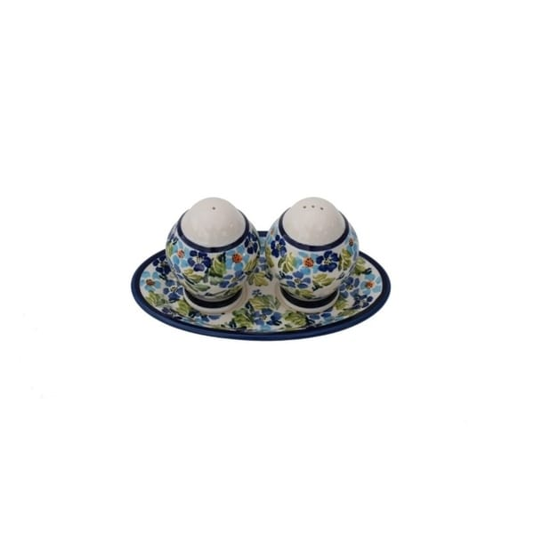 Handmade Salt and Pepper with Stoneware Tray (Poland). Opens flyout.