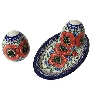 Hand-made Polish Stoneware Salt & Pepper with Tray (POLAND) (Bellissima)