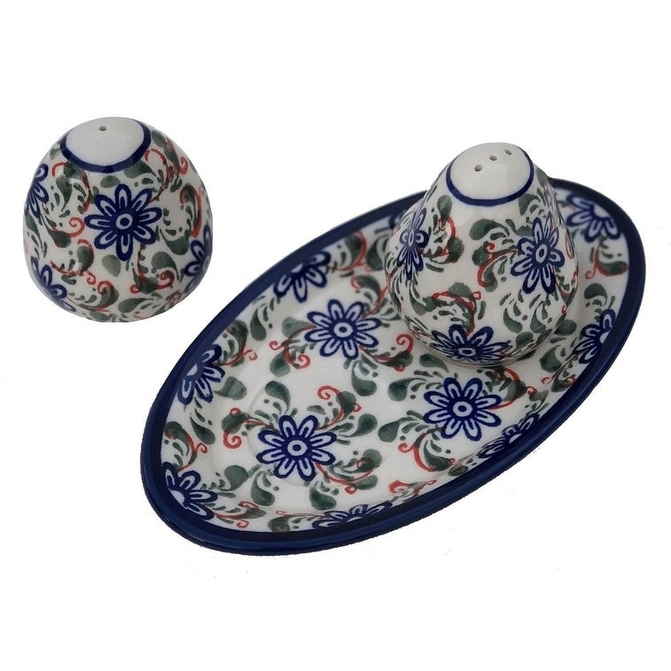 Hand-made Polish Stoneware Salt & Pepper with Tray (POLAND) (Heritage Home)