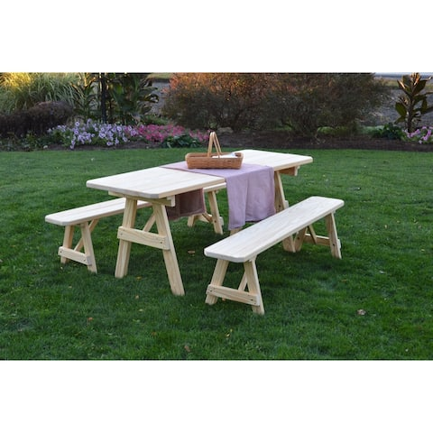 Picnic Table with Detached Benches - Unfinished Pressure Treated Pine