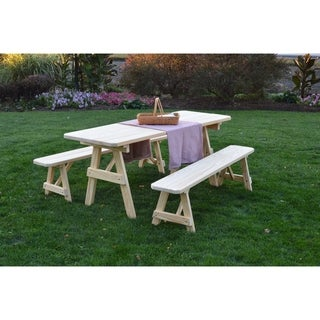 Link to Picnic Table with Detached Benches - Unfinished Pressure Treated Pine Similar Items in Patio Furniture