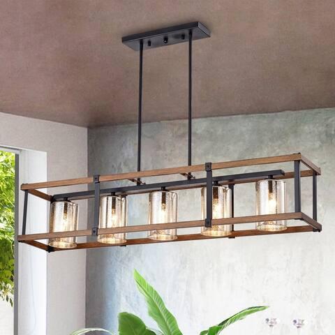 Desaki Imitation Wood Grain/Matte Black 5-light Chandelier