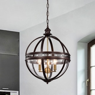 Link to Mahele Matte Black/Gold 3-light Chandelier Similar Items in Chandeliers
