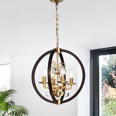 Inori Matte Black/Gold 4-light Chandelier