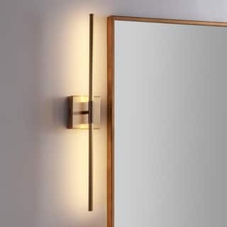 "Makena 28"" Dimmable Integrated LED Wall Sconce, Gold by JONATHAN Y"