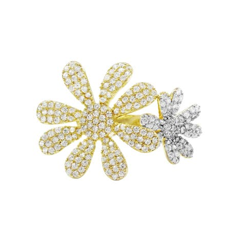 Luxiro Cubic Zirconia Sterling Silver Two-tone Finish Flower Ring