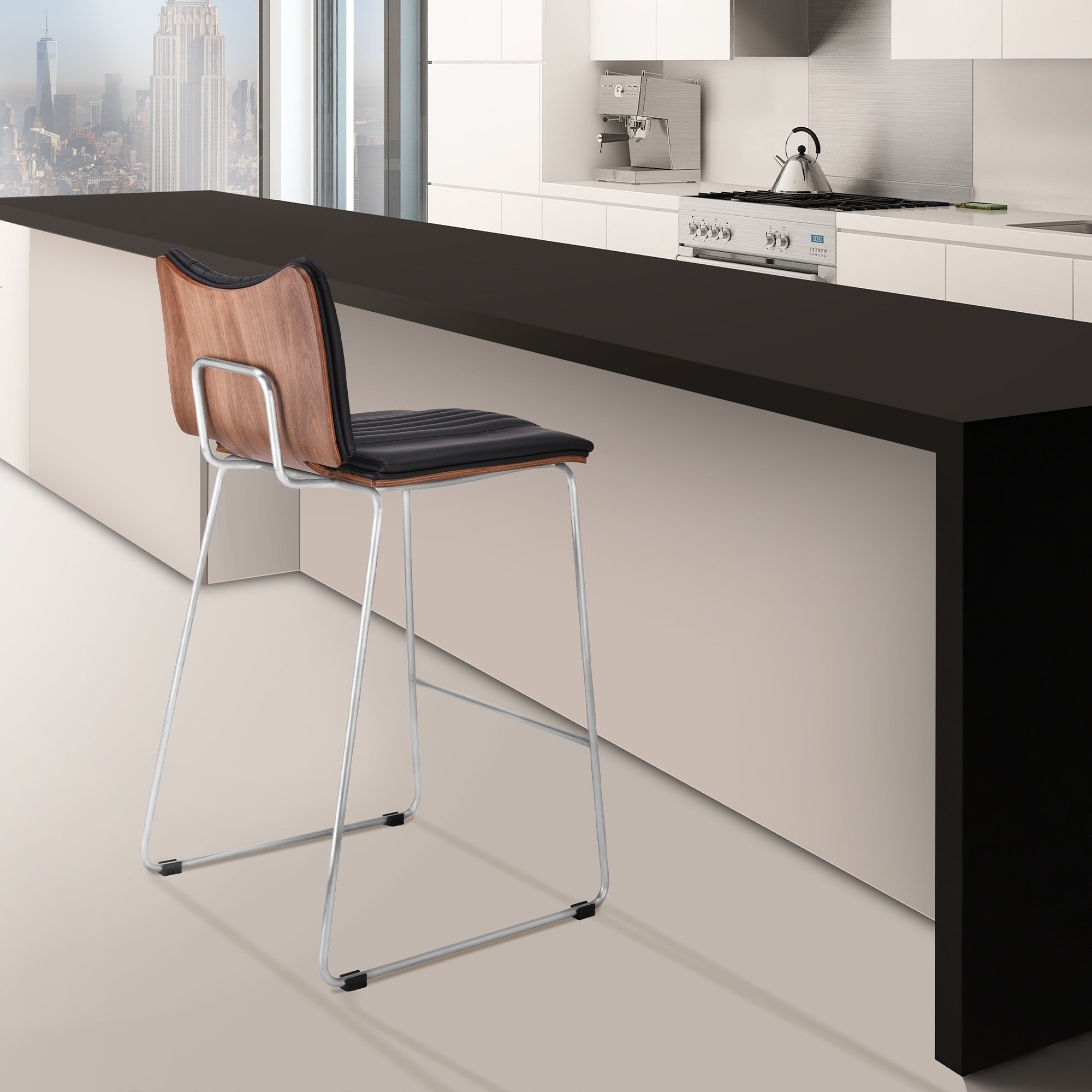 Image of: Shop Black Friday Deals On Malta Modern 26 Counter Height Bar Stool In Brushed Stainless Steel With Gray Faux Leather And Walnut Back Overstock 28124191