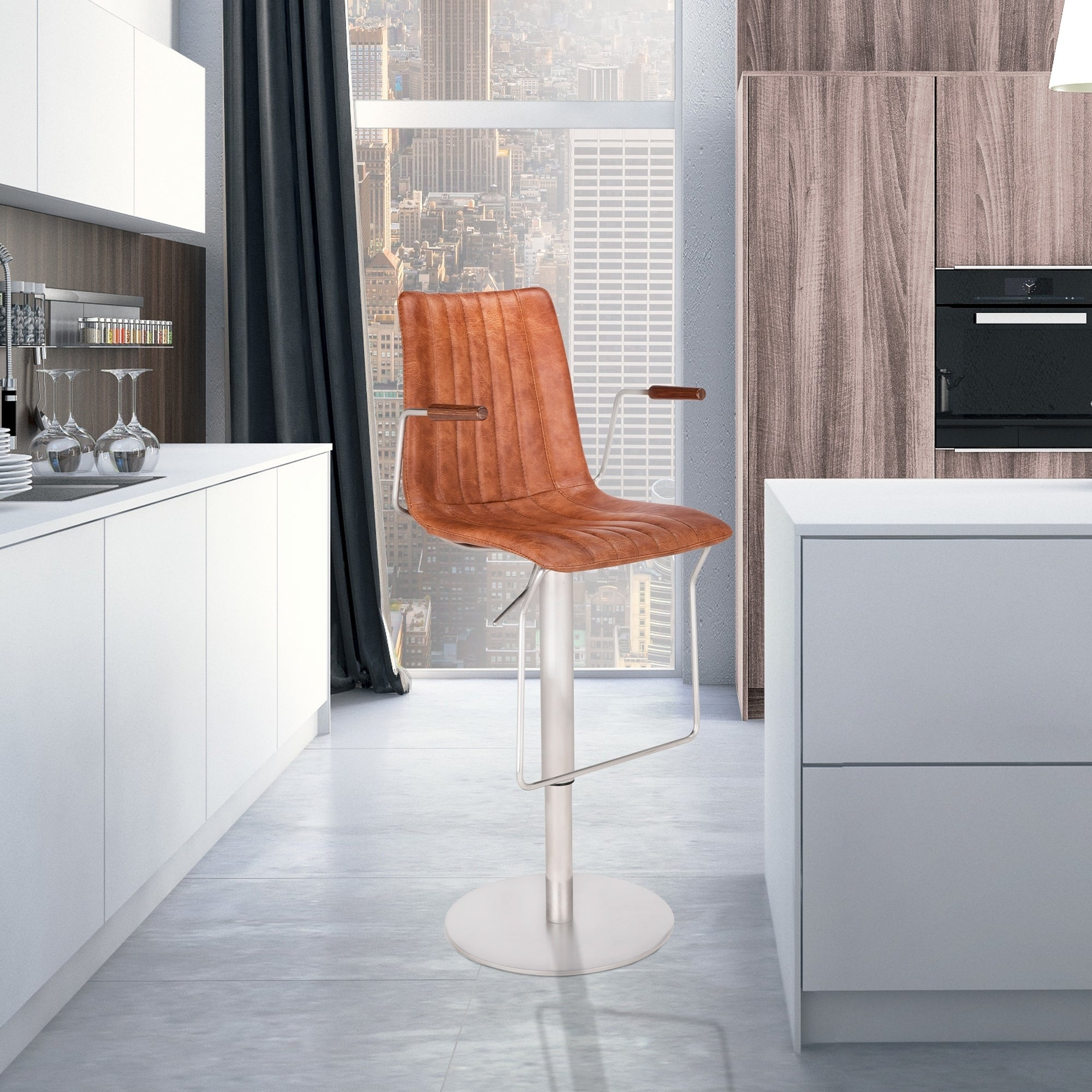 Andorra Modern Adjustable Barstool in Brushed Stainless Steel with Brown Faux Leather Seat and Walnut Arms