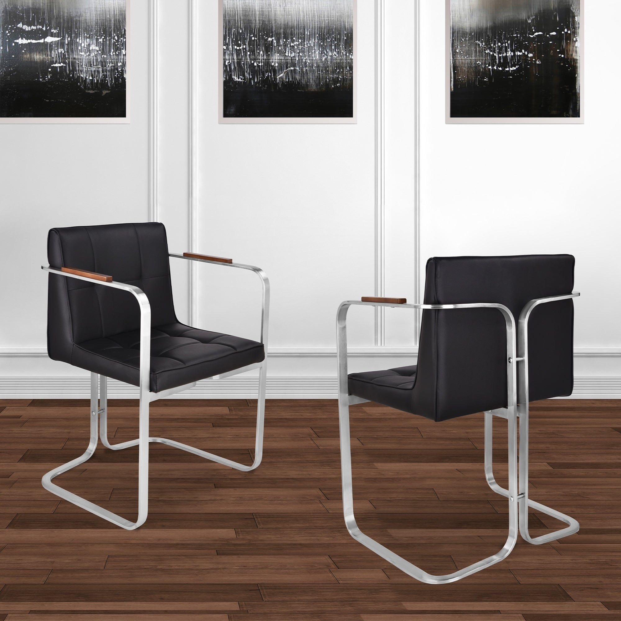 889257e99a Shop Martha Contemporary Dining Chair in Brushed Stainless Steel with Black  Faux Leather and Walnut Arms - Set of 2 - On Sale - Free Shipping Today ...
