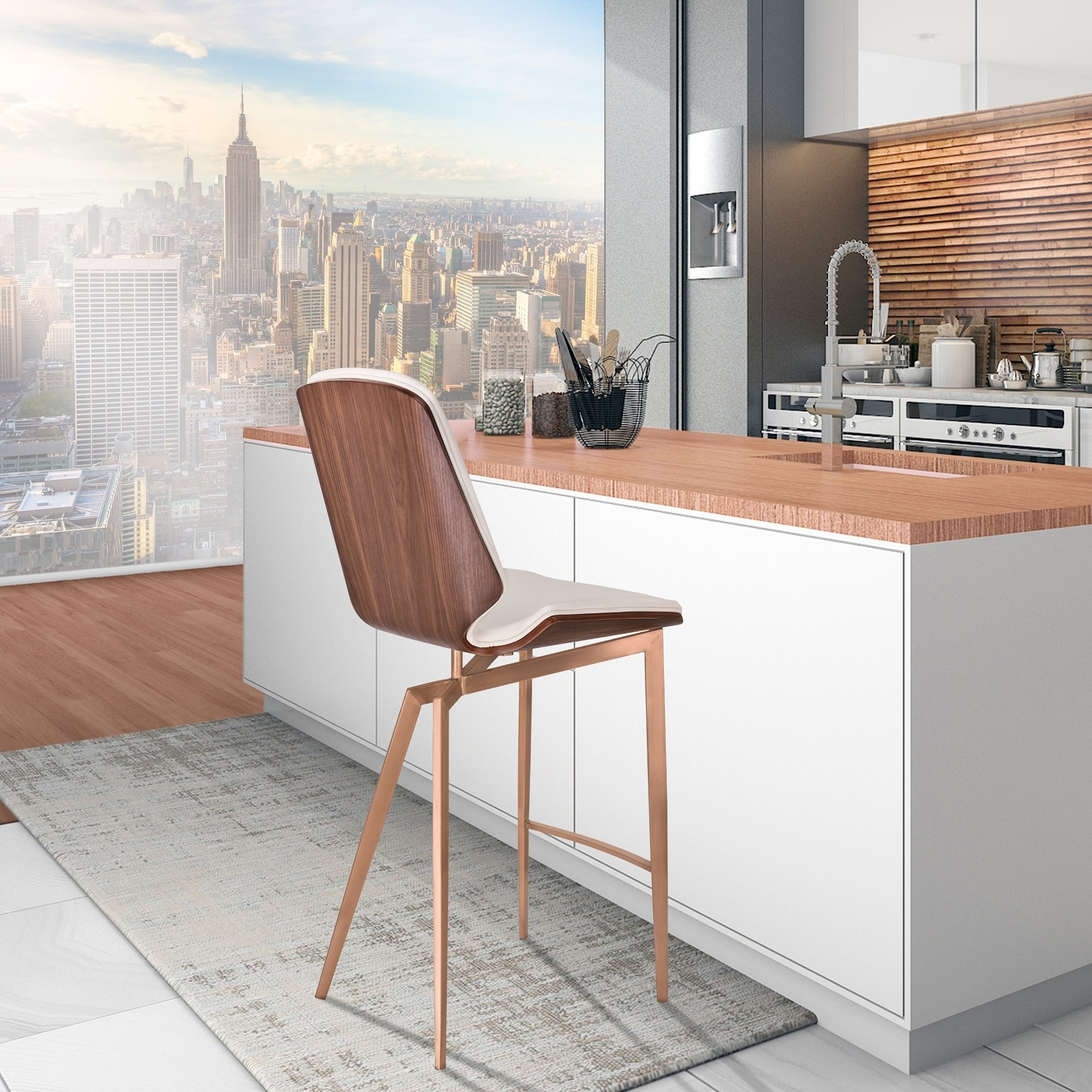 Karen Copper Brushed Stainless Steel 26-inch Counter-height Contemporary Bar Stool with White Faux Leather and Walnut Back