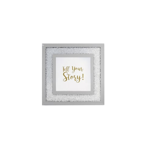 """mirror -white crushed picture frame 4 x 4"""" photo"""