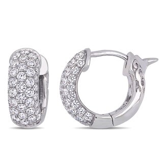 Miadora 14k White Gold 7/8ct TDW Diamond Clustered Huggie Hoop Earrings