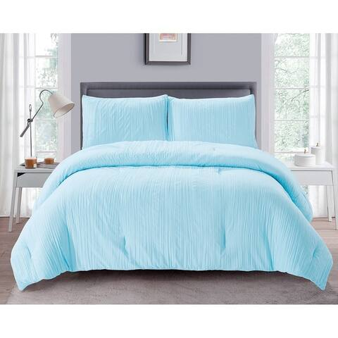 Porch & Den Emma Crease Textured Hypoallergenic 3-piece All Season Comforter Set