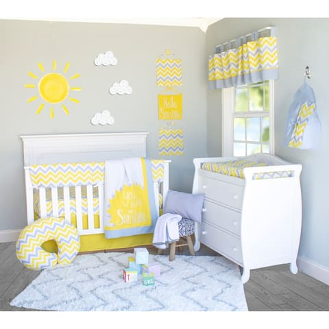 Yellow and Grey Chevron Crib Baby Bedding Set by Pam Grace Creations