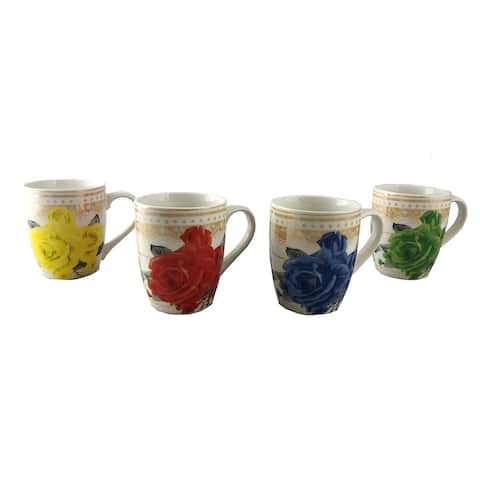 Vintage Style Tea or Coffee Mugs Set of 4 Multicolor Floral Design w/Gold Background Gift Set