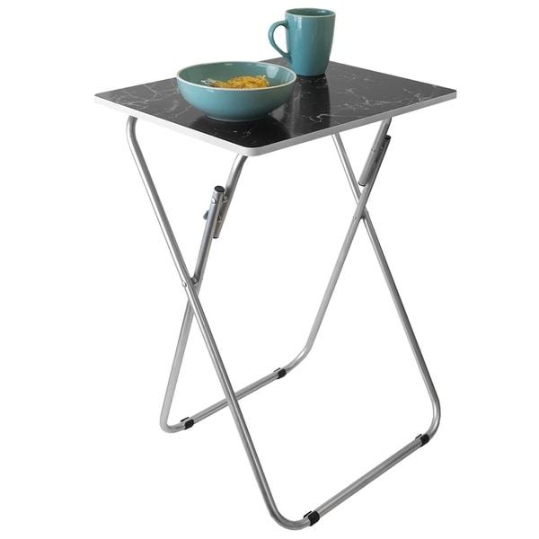 Marble Multi-Purpose Foldable Table, Black