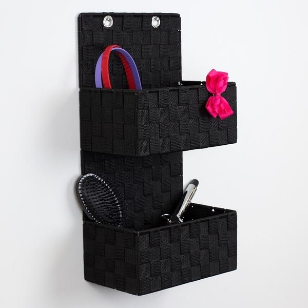 2 Tier Polyester Woven Hanging Organizer, Black