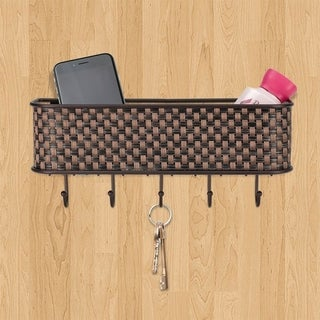 Wall Mount  Basket Weave Letter Rack Organizer, Bronze